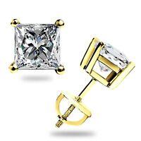1.60 Ct Princess Cut Stud Earrings Lab Diamond Solid 14K Yellow Gold Screw Back