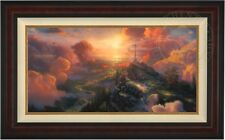"Thomas Kinkade THE CROSS 18"" x 36"" LE S/N Canvas (Burl Frame)"