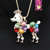 Betsey Johnson Enamel Crystal Crown Poodle Dog Pendant Sweater Chain Necklace