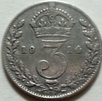 SOLID SILVER 3d 1914 Coin II World War I King George V Royal Mint London England