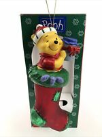 Vintage Santas Best European Glass Ornament Disney Pooh in Stocking