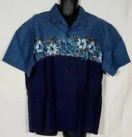 Hawaii Blues Mens Hawaiian Button Up Shirt Blue Floral Short Sleeve Vintage XL