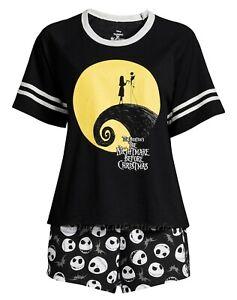 Nightmare Before Christmas Womens Pajamas Set Size XS-3X Plus Shirt Shorts Socks