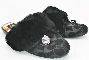 Coach A0024 Carra Signature Embossed Fur Trim Black Slide Slippers - Size 9.5