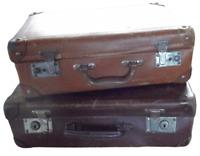 2 Ancienne Valise Coffret Coffre  chest Carton 1940 Vintage 49 et 34 cm voyage