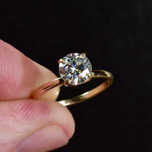 2.00 Ct Moissanite Round Cut Yellow Gold Promise Ring 18K Solitaire Girl ring