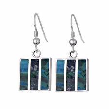 New Delicate Sterling Silver Blue Green Eilat King Solomon Stone Square Earrings