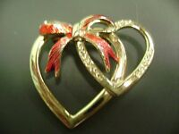 VINTAGE GOLD TONE RED BOW DOUBLE HEART  BROOCH!!!!