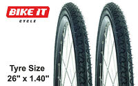 "MONEY-SAVING PAIR CYCLE TYRES 26"" x 1.40 - MTB MOUNTAIN BIKE HYBRID SEMI-SLICK"