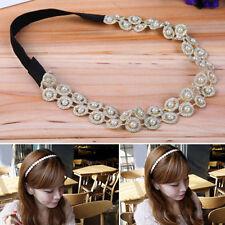 Femmes Creux Serre-tête Elastique Perle Bandeau Accessoires pour cheveux