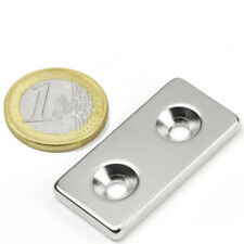 Super Magnete Solido in Neodimio 40x20x4 mm 12 Kg DOPPIO FORO SVASATO da avvitar