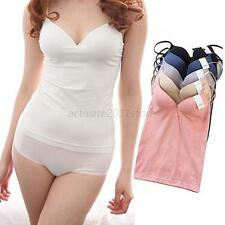 Girl Women Strap Built In Bra Padded Self Mold Bra Tank Top Camisole Cami Hot AU