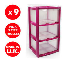 9 x 3 DRAWER PLASTIC STORAGE DRAWER - CHEST UNIT - TOWER - WHEELS - TOYS - PINK