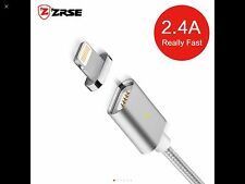 Super Fast 2.4A Magnetic Data Charging Cable for iPhone.1M Aluminum Silver cable