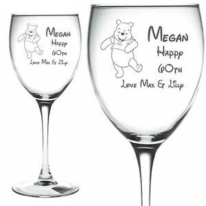 Personalised engraved wine glass Eeyore Pooh Mickey mouse Piglet Disney Tigger
