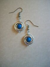 LOVELY ART NOUVEAU STYLE ANTIQUE SILVER TURQUOISE GEMSTONE EARRINGS