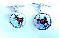 Sterling Silver Wild Stag King of the Forest round enamel cufflnks gents Gift