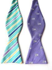 NEW SILK! Self Tie Bow Tie Purple Reversible 14.5 - 20 Inch Neck PROM FREE P&P
