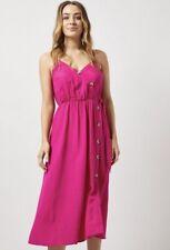 Bright Pink Dorothy Perkins Linen Blend Strappy Midi Casual Summer Sun Dress £28