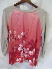 Forever 21 Shirt Top Raglan Long Sleeve Rounded Neck Beige & Pink Floral S #6467