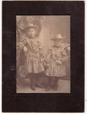 ANTIQUE 1890-1900 CABINET CARD PHOTO TWO LITTLE GIRLS COWBOY HATS