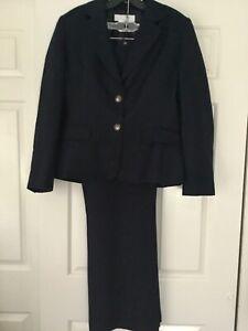 Tahari Arthur Levine Navy Blue Linen & Rayon Blend Suit Jacket & Pants Sz 10