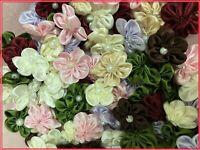 "100 Satin Ribbon 5 Petals Flower 1"" Applique Sewing Bow Craft Mix Color 1250"