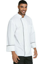 NWT DICKIES COOL BREEZE CHEF COAT UNISEX WHITE WITH BLACK PIPING DC411
