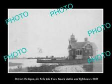 New listing Old Historic Photo Of Detroit Michigan, Belle Isle Lighthouse Coast Guard c1880