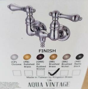 = Kingston Wall Mount Tub Handles Aqua Vintage Brushed Brass Porcelain Lever