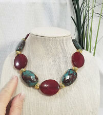 Chunky Boho Oxblood Red and Turquoise Jasper with Brass Bead Choker Necklace