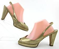 688717546c7 Vtg VERA WANG Peep Toe Slingback Pumps Gold EU 39.5   US 8.5-9 Made