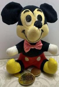 Walt Disney Prod~Mickey Mouse~Stuffed Plush Doll~Gold Die-Cut Hang-Tag~1980s