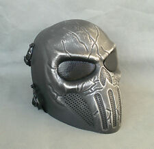 New Style Full Face Protection Black Silver Paintball Airsoft Skull Mask HDM28