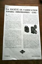 pub 1950 EUMIG Tsf - cinéma - photo appareils cinématographiques
