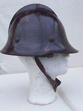 Original edad polaco casco de bombero puesto baquelita marrón coleccionista rareza