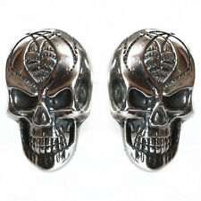 SKULL cufflinks Sterling Silver 925 oxidized Hand Made 3D Unique Flexible