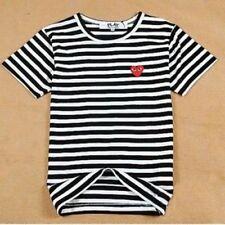 Men & Women  Stripe Dot Red Heart Short Sleeve T-Shirt
