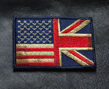 USA UK FLAG SUBDUED EMBROIDERED MILITARY 3 INCH HOOK TACTICAL PATCH
