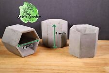 Cement Succulent Pot, Concrete Planter Cactus Plant Herb Container 3 Pack