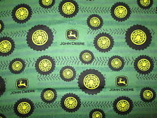 JOHN DEERE TIRES TREADS GREEN YELLOW COTTON FLANNEL FABRIC FQ OOP