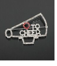Silver and Clear Rhinestone Love to Cheer Megaphone FASHION Brooch