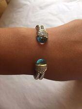 David Yurman 18K Gold Silver Blue Topaz Pave Diamond Cuff Bracelet
