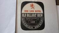 OLD AUSTRALIAN BEER LABEL, SOVEREIGN BREWERY BALLARAT, OLD BREW RED LION