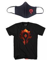 World Of Warcraft Horde Logo Men Shirt Size XXL 2XL + Mask Blizzard Blizzcon NEW