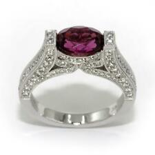 1.17 Ct Tourmaline & 1.23 TCW Diamonds Cathedral Ring In 18k White Gold Size 6.5
