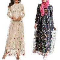 Womens Floral Long Sleeve High Waist Mesh Elegant Cocktail Party Long Maxi Dress