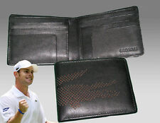 New Authentic LACOSTE Small Billfold LEATHER WALLET Punched Croc 3 Black
