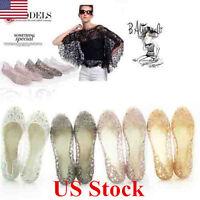 NEW Women Crystal Glitter Plastic Jelly Hollowed Beach Ballet Shoes Flat Sandals