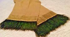 Designer Linen Table Runner Fringed Peacock Feathers 14x72 Dransfield & Ross NY